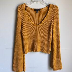 Forever 21 mustard crop wide sleeve sweater medium